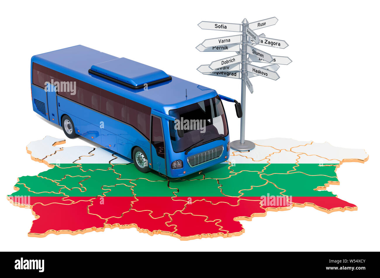 Bulgaria Bus Tours concept. 3D rendering isolated on white background Stock Photo