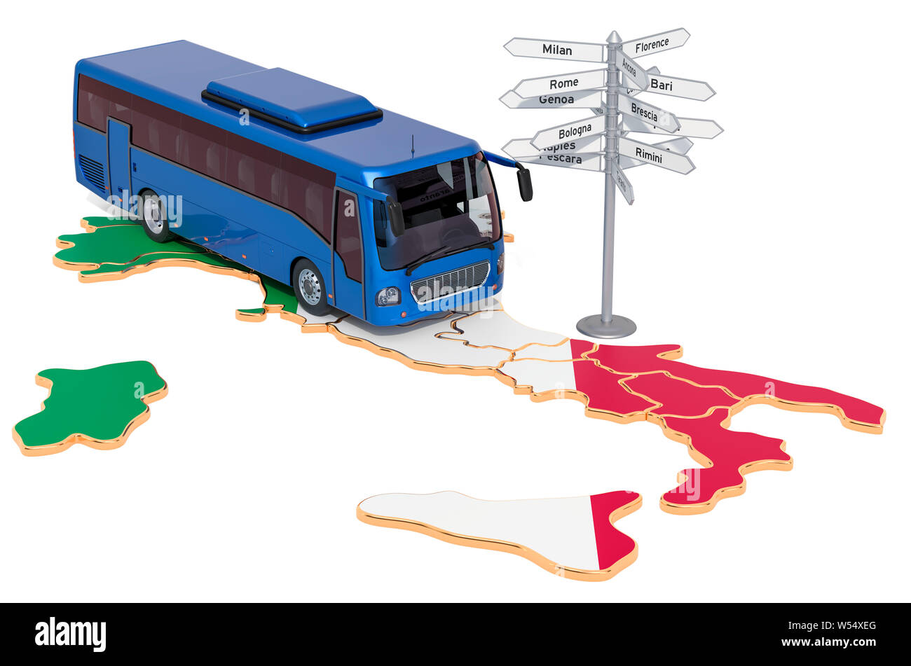 Italy Bus Tours concept. 3D rendering isolated on white background Stock Photo