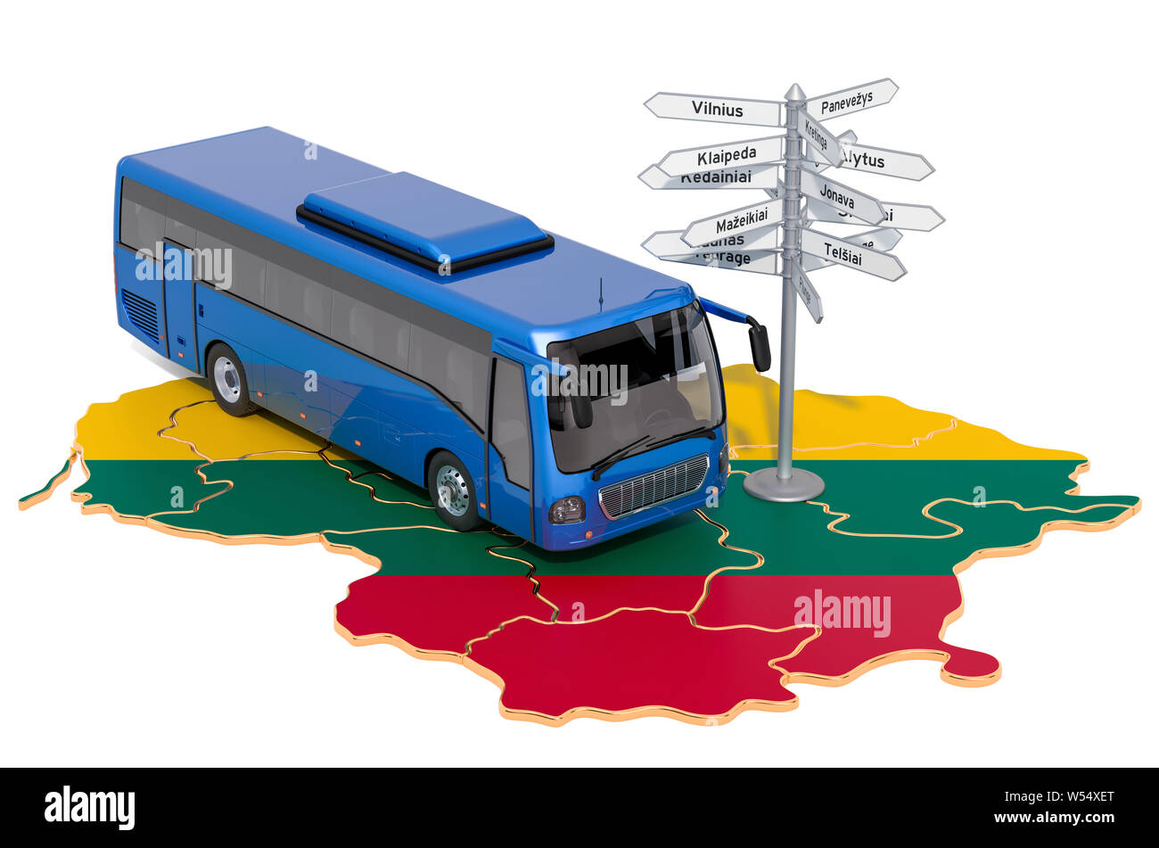 Lithuania Bus Tours concept. 3D rendering isolated on white background Stock Photo