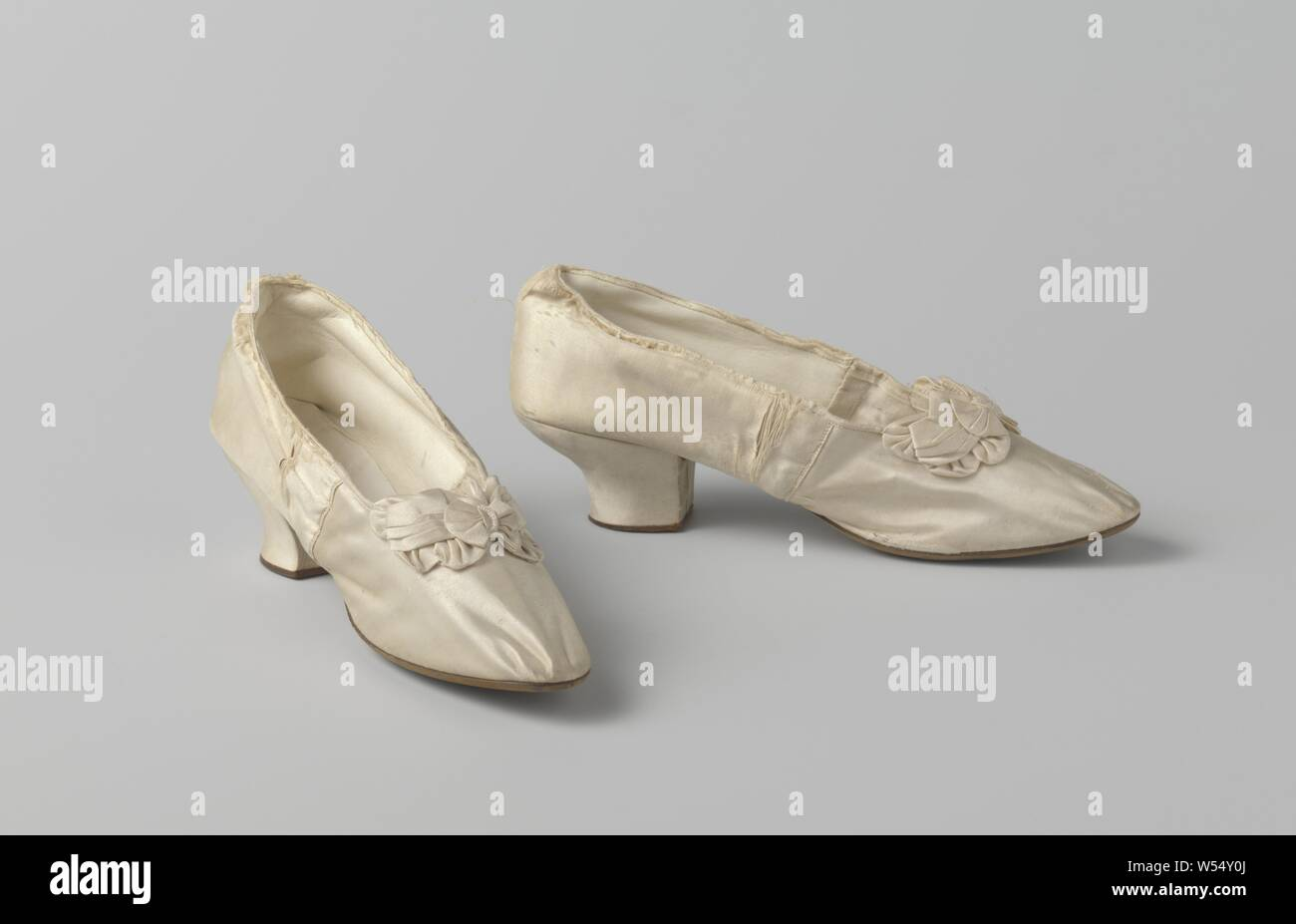 Ladies satin bridesmaid shoes with beaded rosette