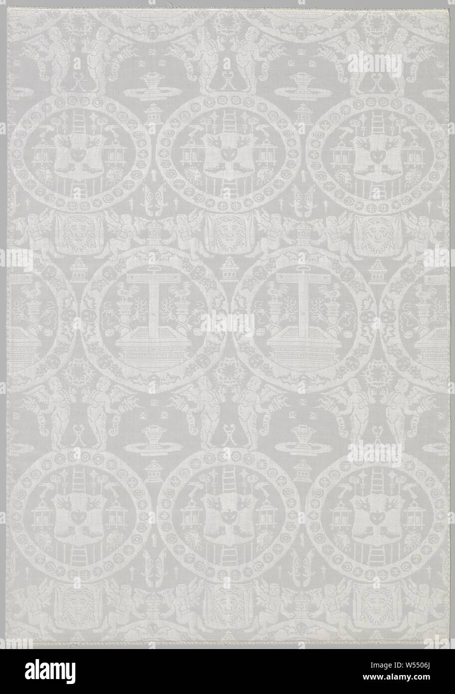 Napkin with Arma Christi, White linen damask napkin with circles with Arma Christi., anonymous, Vlaanderen, c. 1550 - c. 1599, linen (material), damask, h 100.7 cm × w 69.9 cm Stock Photo