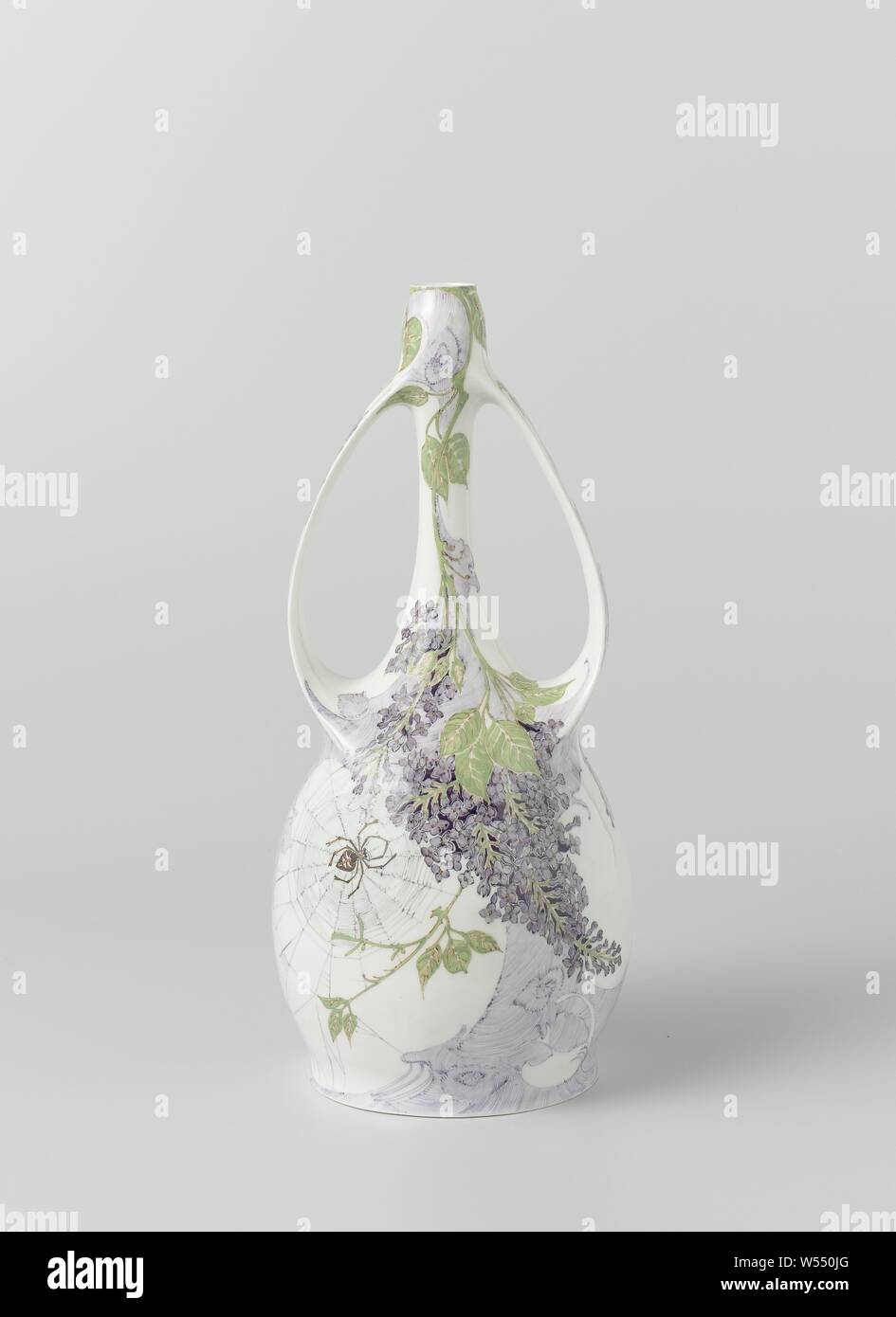 Vase painted with branches with lilacs and a spider in its web, Porcelain vase with two ears and a spherical body. The long slender neck widens upwards. The ears are flattened and run between the shoulder and the top of the neck. Painted on both sides with branches with lilacs in purple, green and brown, and with a spider in its web in shades of brown and gray-green, flowers, spiders, N.V. Haagsche Plateelfabriek Rozenburg, The Hague, 1902, porcelain (material), h 27.7 cm × d 13 cm Stock Photo