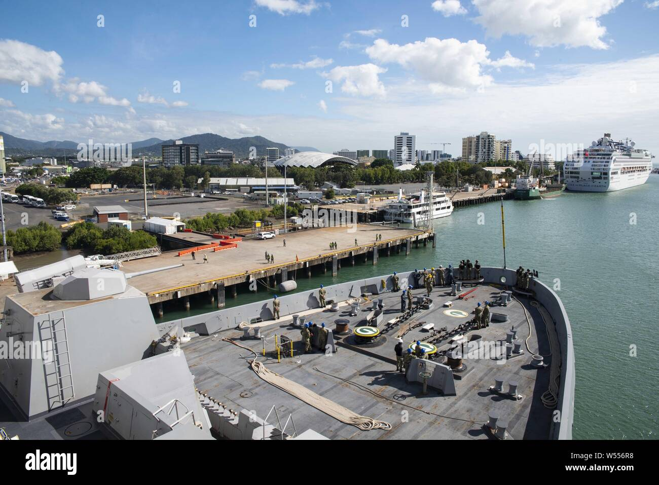 190726-N-DX072-1059 CAIRNS, Australia (July 26, 2019) The amphibious transport dock ship USS Green Bay (LPD 20) arrives in Cairns, Australia for a scheduled port visit, July 26, 2019. Green Bay, part of the Wasp Expeditionary Strike Group, with embarked 31st Marine Expeditionary Unit, participated in Talisman Sabre 2019 off the coast of Northern Australia. A bilateral, biennial event, Talisman Sabre is designed to improve U.S. and Australian combat training, readiness and interoperability through realistic, relevant training necessary to maintain regional security, peace and stability. (U.S. N Stock Photo
