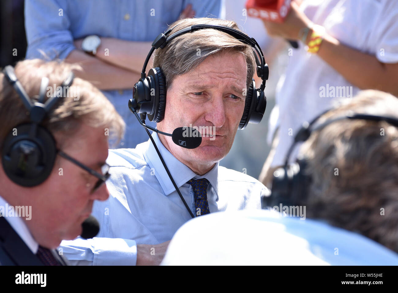 Dominic Grieve MP (Conservative: Beaconsfield) former Attorney General, being interviewed on College Green, Westminster, July 23rd 2019 (with Mark Fra Stock Photo