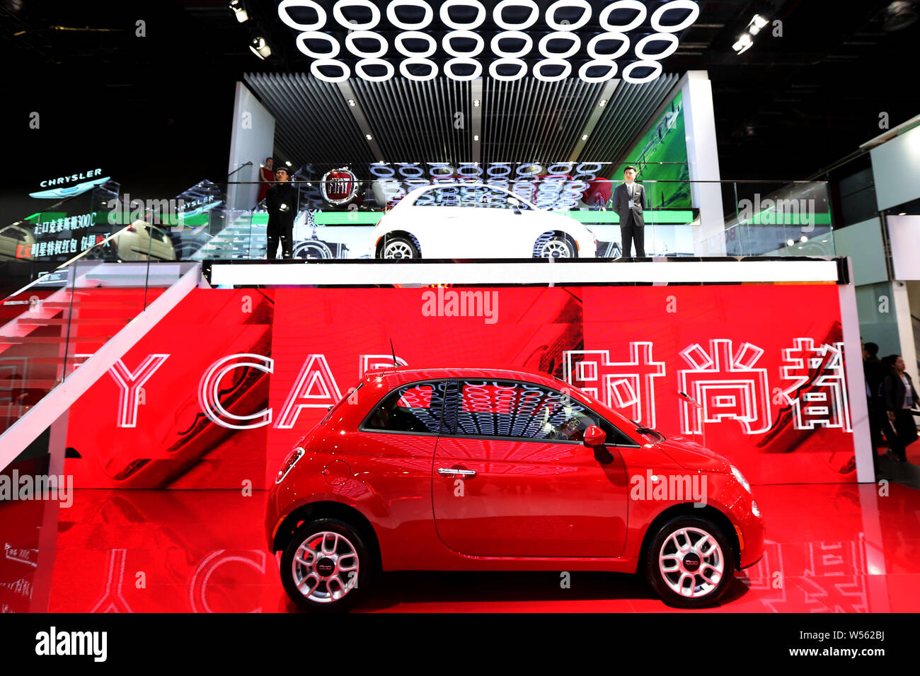 --FILE--A Fiat car of GAC Fiat Chrysler, a joint venture between Guangzhou Automobile Group Co (GAC) and Fiat Chrysler, is on display during the 16th Stock Photo
