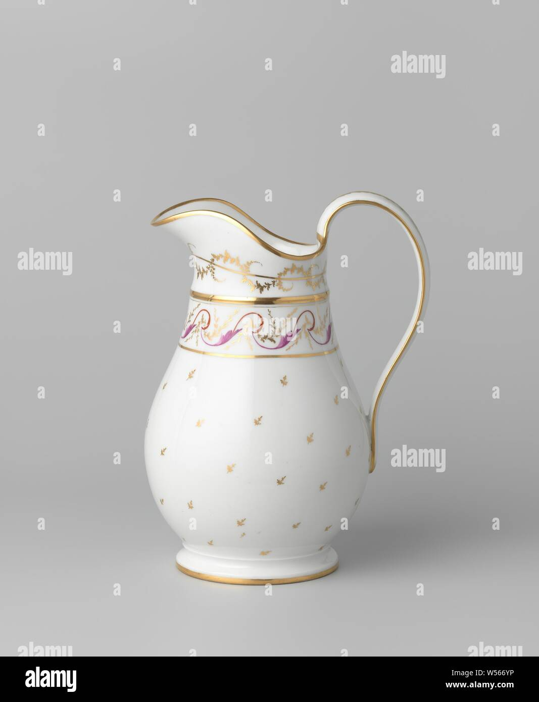 Ewer with floral scrolls and flower sprigs, Porcelain jug on a spreading base, with a pear-shaped body, high ear and broad pouring rim. Painted on the glaze in red, purple and gold. Flowers on the belly. The neck with a band of golden lines with a flower vine in it. Below the edge a leaf vine billowing around a golden line. Leaf tendril on the ear and gold bands on the foot and rim. Marked on the bottom with 'B Potter 23' and E.B., Fabriek Dominique Denuelle, Paris, c. 1775 - c. 1799, porcelain (material), glaze, gold (metal), vitrification, h 31.2 cm w 13.7 cm d 18.2 cm d 13.5 cm w 23.5 cm Stock Photo
