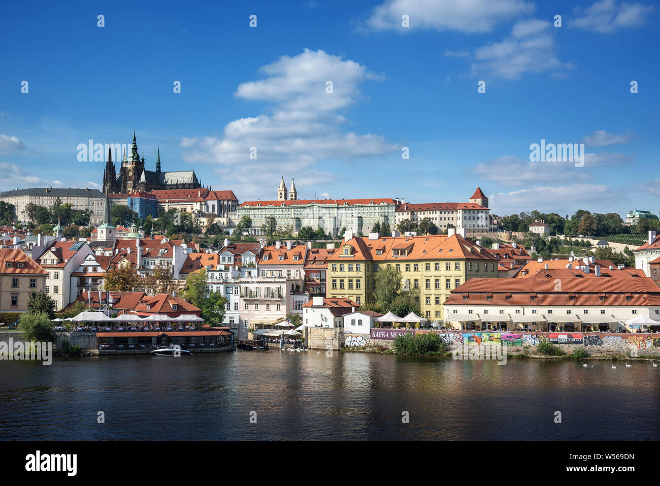 View of the city of Prague and the Vltava River. Stock Photo