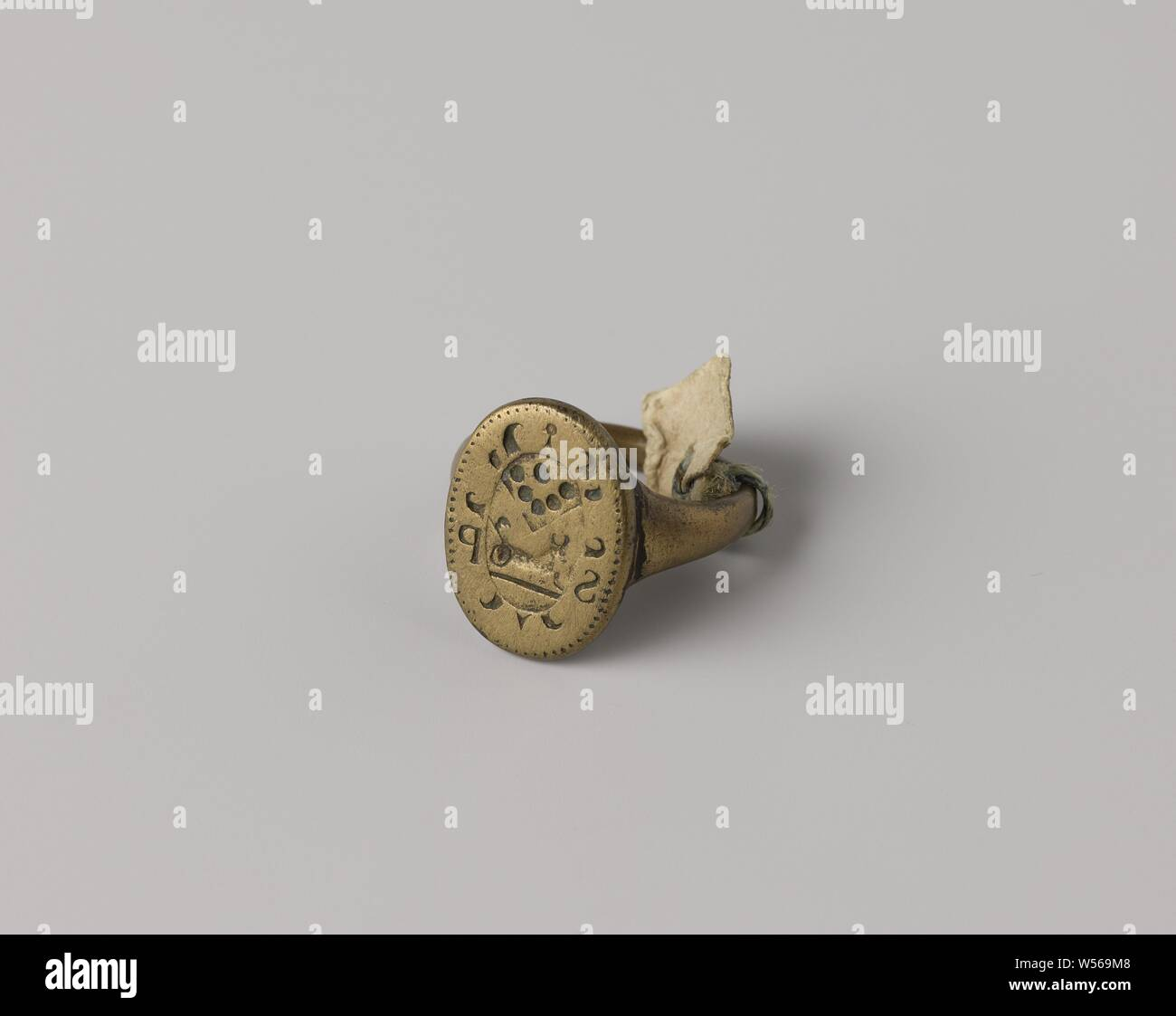 Signet ring with weapon and SP, Ring with oval stamp  An