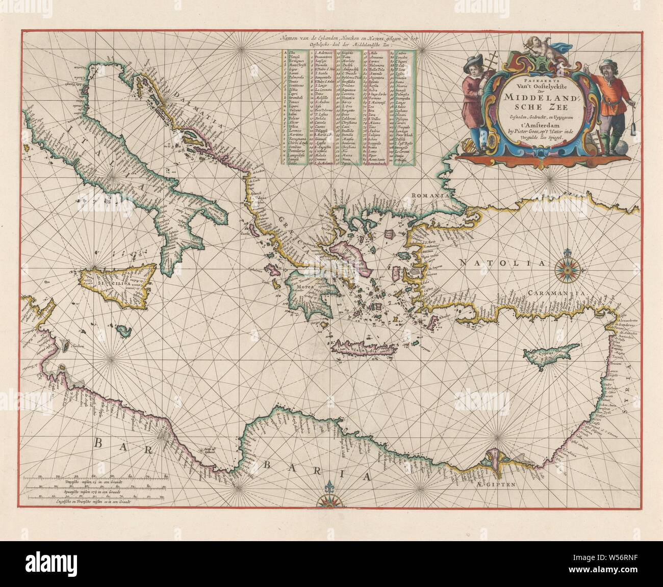 Cartography In The Netherlands Nautical Chart Of The Eastern Part Of The Mediterranean Nautical Chart Of Northern Italy To Syria Bordered In Red Coasts Colored Inscription R B Flanked By Allegorical Figures And