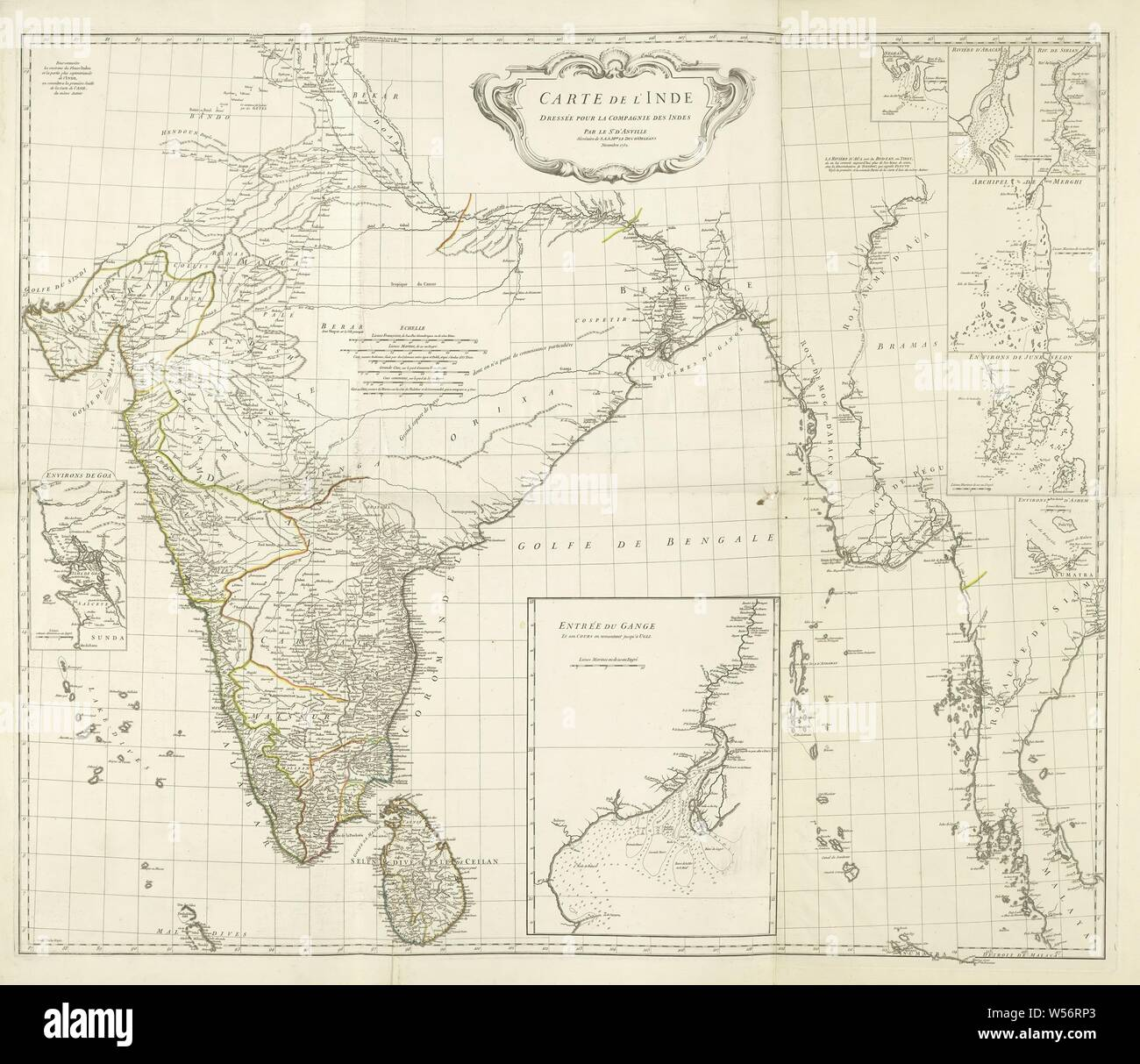 Carte De Linde Regions.Map Of India And The Western Coastal Area Of Burma Siam And