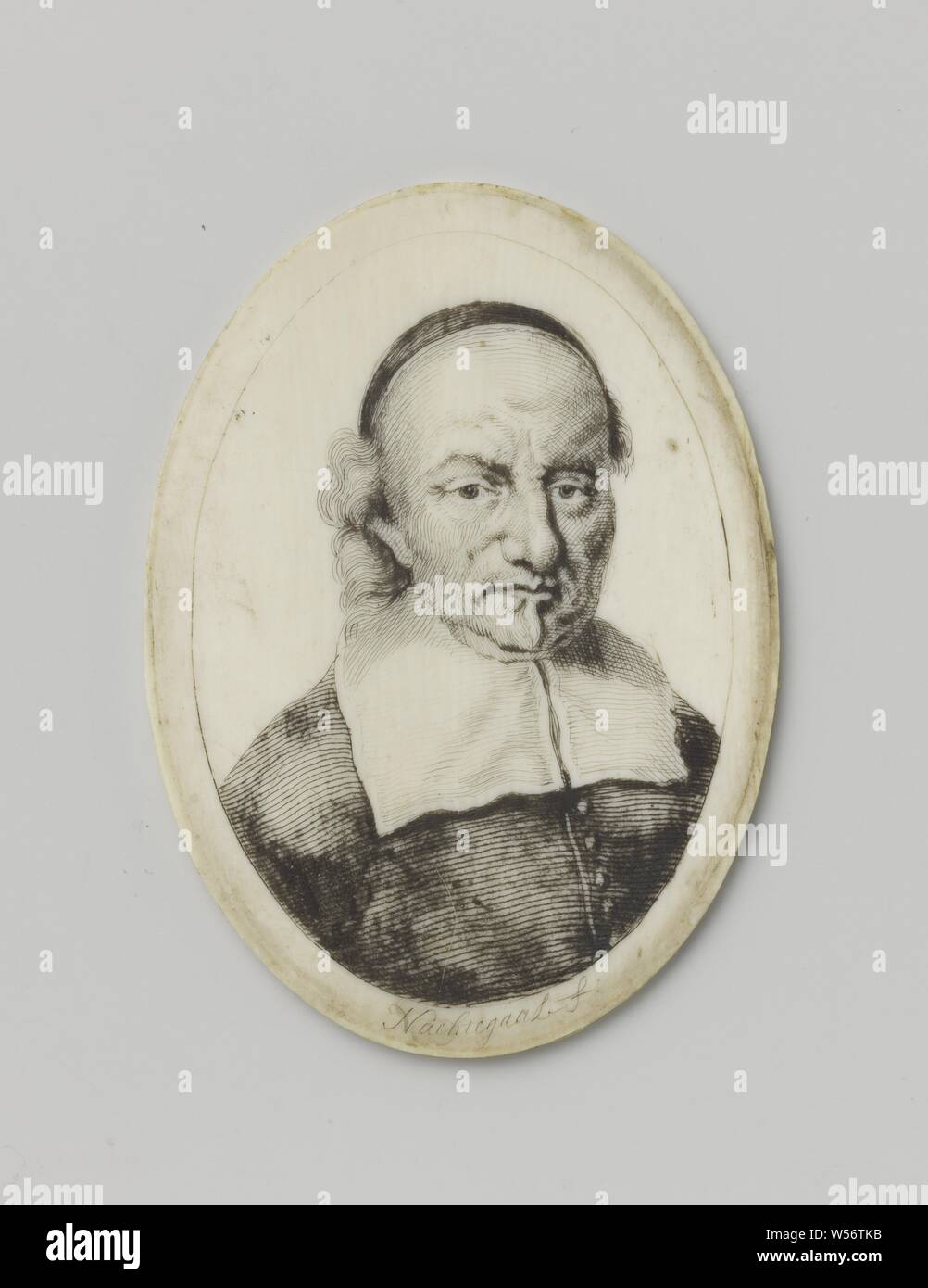 Portrait Of Joost Van Den Vondel 1587 1679 On Ivory Oval