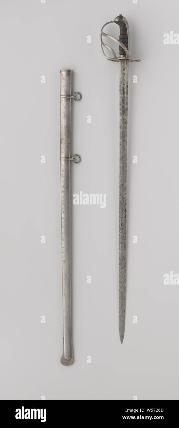 Officer saber with sheath light cavalry no. 4 by W.J.K. van Rappard, Officer model cavalry sable with hilt and scabbard, originating from the heavy cavalry M 1849. Worn by W.J.K. Knight of Rappard. Blade long, straight and double-sided. On the one hand inscription: 'ME FECIT' and on the other hand: '1534'. The sheath has two bands and loose rings. The blade is probably not authentic, Netherlands, W.J.K. Knight of Rappard, anonymous, West-Europa, in or after 1849 - before 1879, kling, greepkap, schede, korf, angel, sleepplaat, greep, l 101 cm l 100.5 cm l 91.5 cm l 87 cm × w 3 cm l 14.5 cm Stock Photo