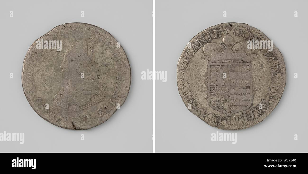 Bishop's seat of Liège vacant, Silver coin. Front side: bust man with a miter inside an inscription. Reverse: crowned coat of arms within an inscription., Liege (city), Liège, anonymous, Liège (city), 1688, silver (metal), striking (metalworking), d 4 cm × w 27.35 Stock Photo
