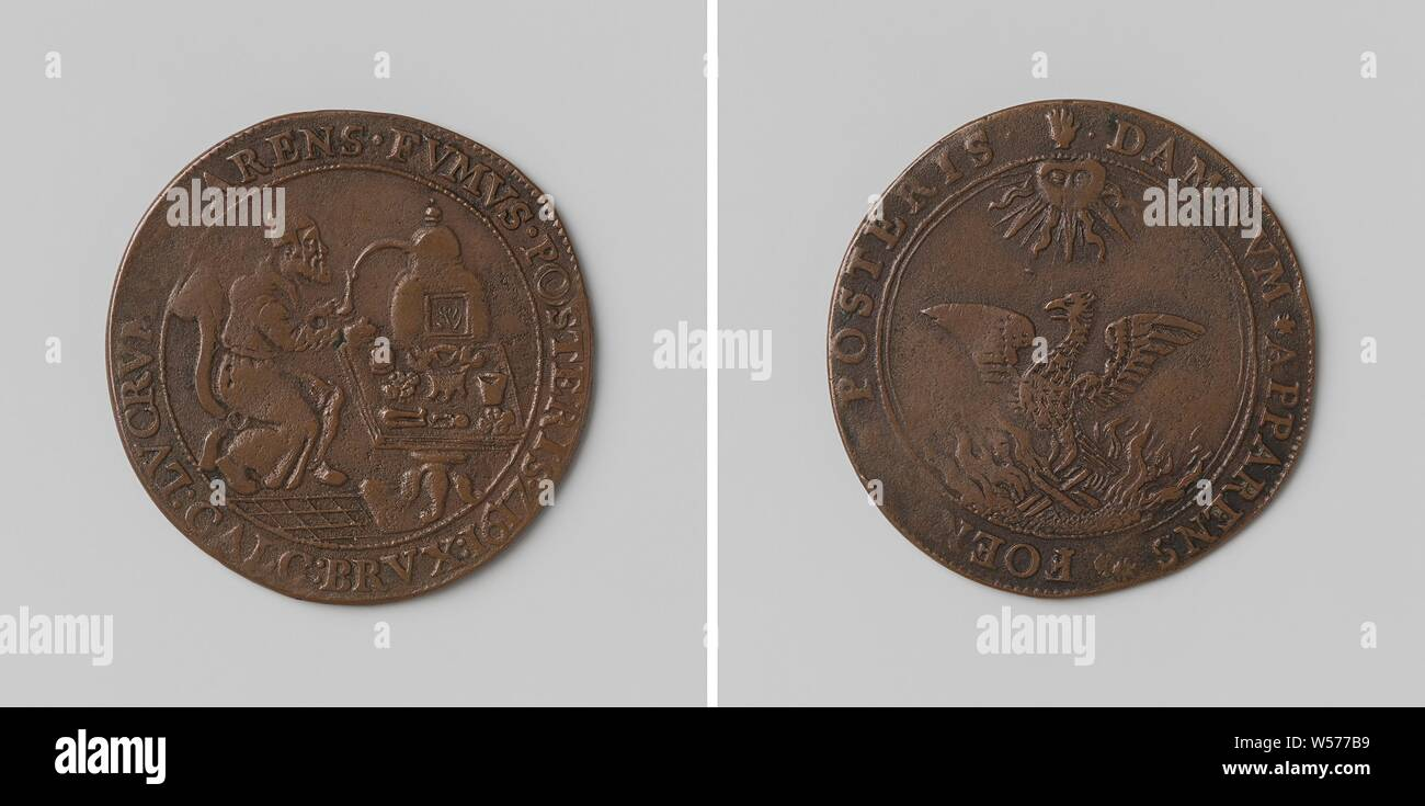 City of Brussels, Copper Medal  Front: man sitting at the