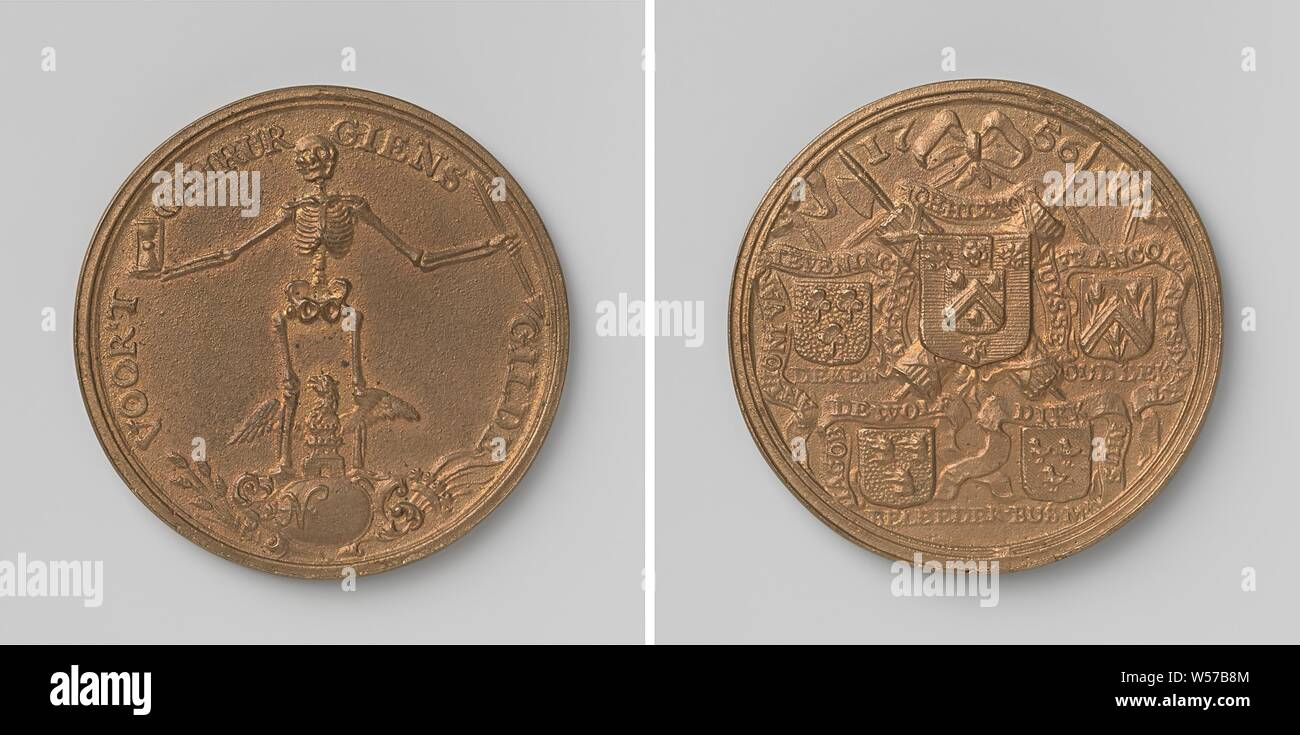 Surgical or Cosmus and Damian's Guild of Middelburg, Brass Medal. Front: skeleton with hourglass in right and arrow in left hand, between his legs an eagle with wings spread above a castle and an empty compartment within an inscription. Reverse: below year: five coats of arms connected with ribbon, hanging with streamers with inscriptions, behind the middle coat of arms: two crossed rods, Middelburg, Alexander Johan Hieronimus Huyssen, Anthoni van Stevening, Francois Ritsaart, Jacob de Wolf, Dirk Mus, anonymous, 1756, brass (alloy), founding, d 4.7 cm × w 31.13 Stock Photo