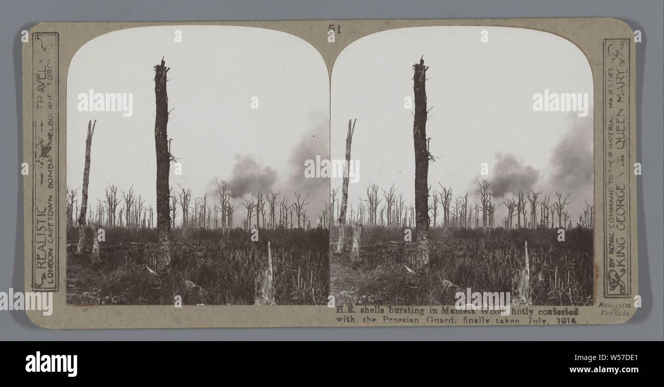 H.E. shells bursting at Mametz Wood, hotly contested with the Prussian Guard, finally taken July, 1916, projectiles, explosives, etc, forest, wood, Realistic Travels (mentioned on object), Picardie, after Jul-1916 - c. 1918, cardboard, photographic paper, gelatin silver print, h 85 mm × w 170 mm Stock Photo