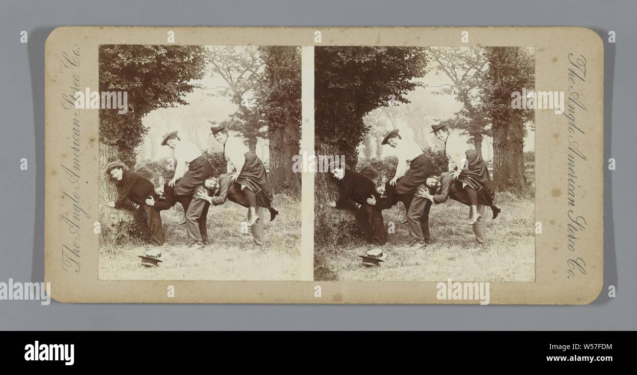 Two Couples And Third Man Ride Horse In Forest Games Without Play Material Head Gear Hat The Anglo American Stereo Company Mentioned On Object C 1890 C 1910 Photographic Paper Cardboard H