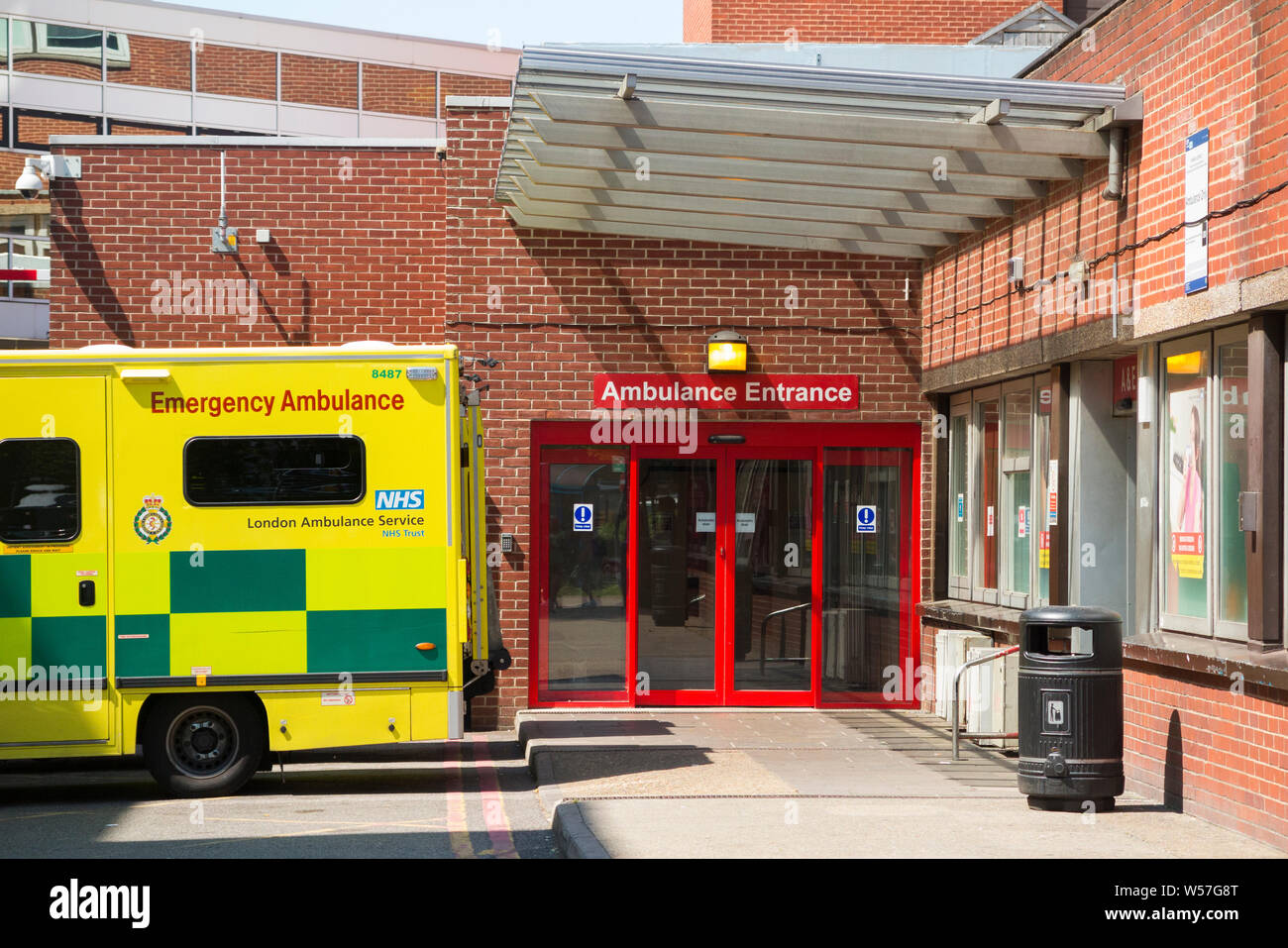 Ambulance and accident and emergency department of Saint Georges Hospital in Tooting, London. UK. Saint Georges in tooting is the main hospital of St George's University hospitals NHS foundation trust. (111) Stock Photo