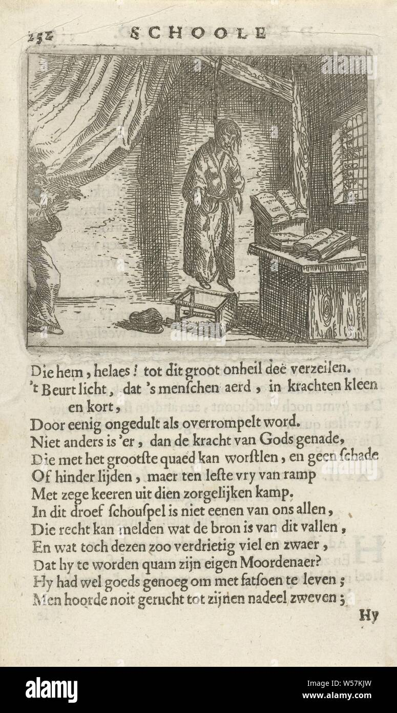 Hungarian in a study room CXVII. Van zeekeren Student, who had killed himself (title on object), A man hung himself in a room with a reading table with books. A figure comes in on the left and is startled. Pent from a book in which 36 prints with phrases. Print used in: F. van Hoogstraten, The school of the world, 1682, seeking death, suicide, Arnold Houbraken, Northern Netherlands, paper, letterpress printing, h 73 mm × w 85 mm h 159 mm × w 96 mm Stock Photo