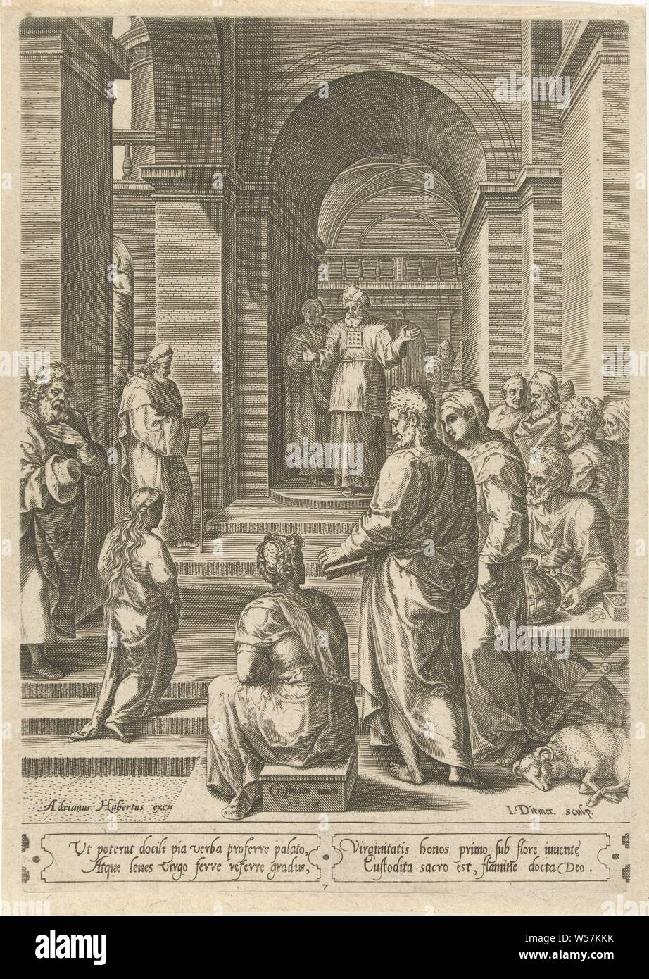 Mission of Mary in the temple, she becomes received by the high priest. Below four lines of Latin text., Dedication (or presentation) or Mary in the temple: she ascends the steps and is received by the high priest, Jan Ditmaer (mentioned on object), 1575, paper, engraving, h 262 mm × w 182 mm Stock Photo