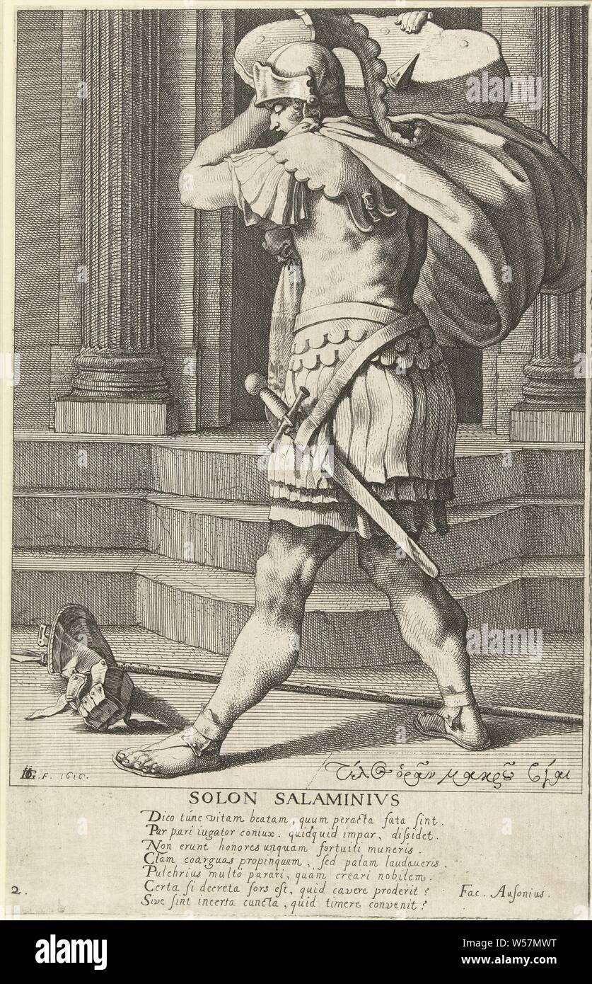 Solon of Athens Solon Salaminius (title on object) The seven sages of Greece (series title), A man in military clothing, full-length portrait, seen on the left, standing by a building, a large block on the right shoulder, a glove and a spear for the feet. Underneath the performance a seven-line Latin poem. This print is part of a series of eight prints: a title print and seven numbered portraits of Greek sages., The seven wise men of Greece: Bias, Chilon, Cleobulus, Periander (alternatively Myson), Pittacus, Solon, Thales, Jacob de Gheyn (III) (mentioned on object), 1616, paper, etching, h 300 Stock Photo