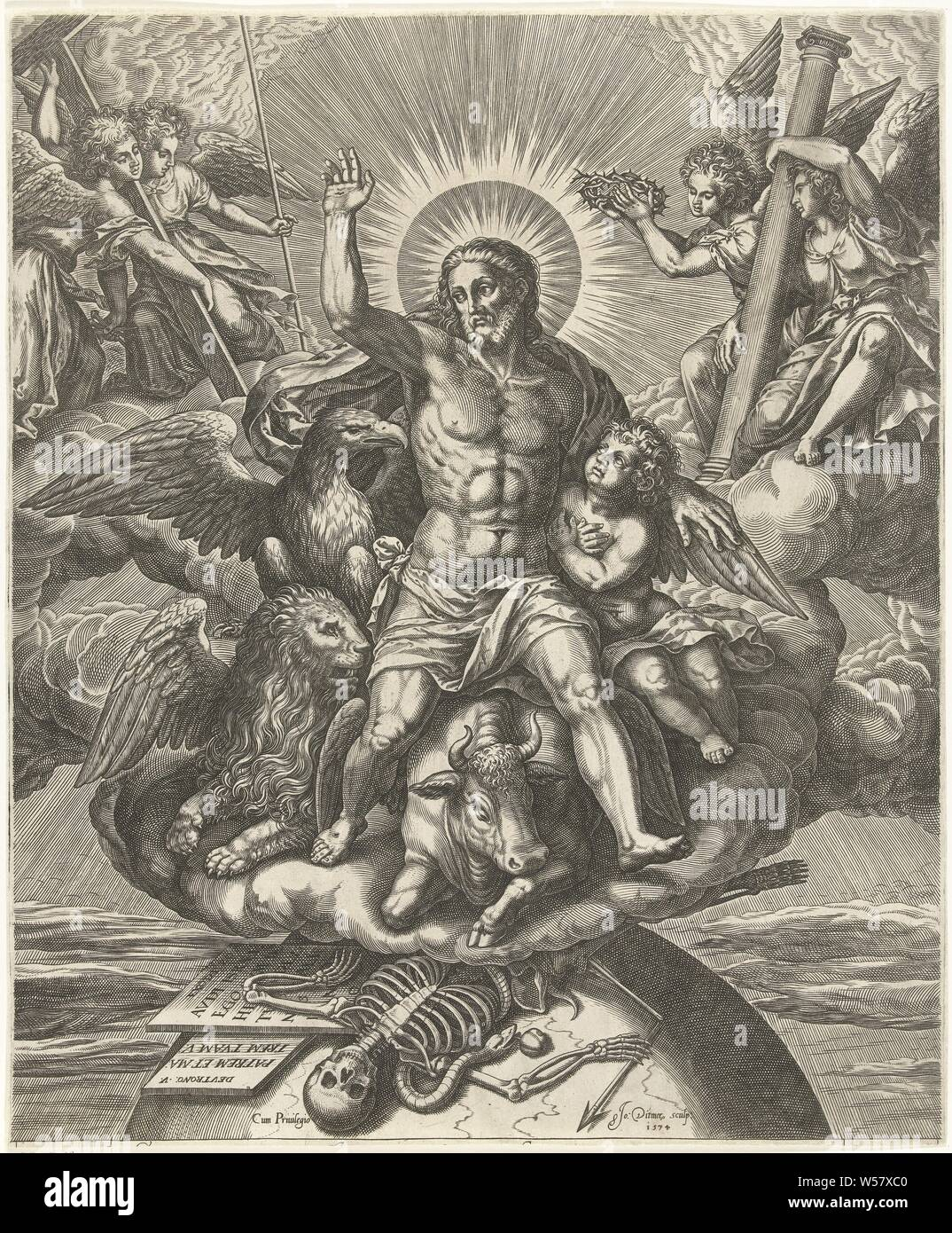 Christ in the clouds with symbols of evangelists, Christ in the clouds with symbols of evangelists and agony tools. Death is on the globe beneath the clouds, the four symbols of the evangelists, the apocalyptic beasts, 'Arma Christi ' Christ, Jan Ditmaer (mentioned on object), 1574, paper, engraving, h 414 mm × w 344 mm Stock Photo