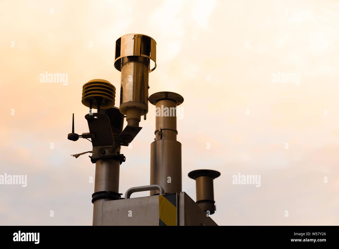 Messstation Feinstaub Belastung CO2 Diesel Fahrverbot Stock Photo