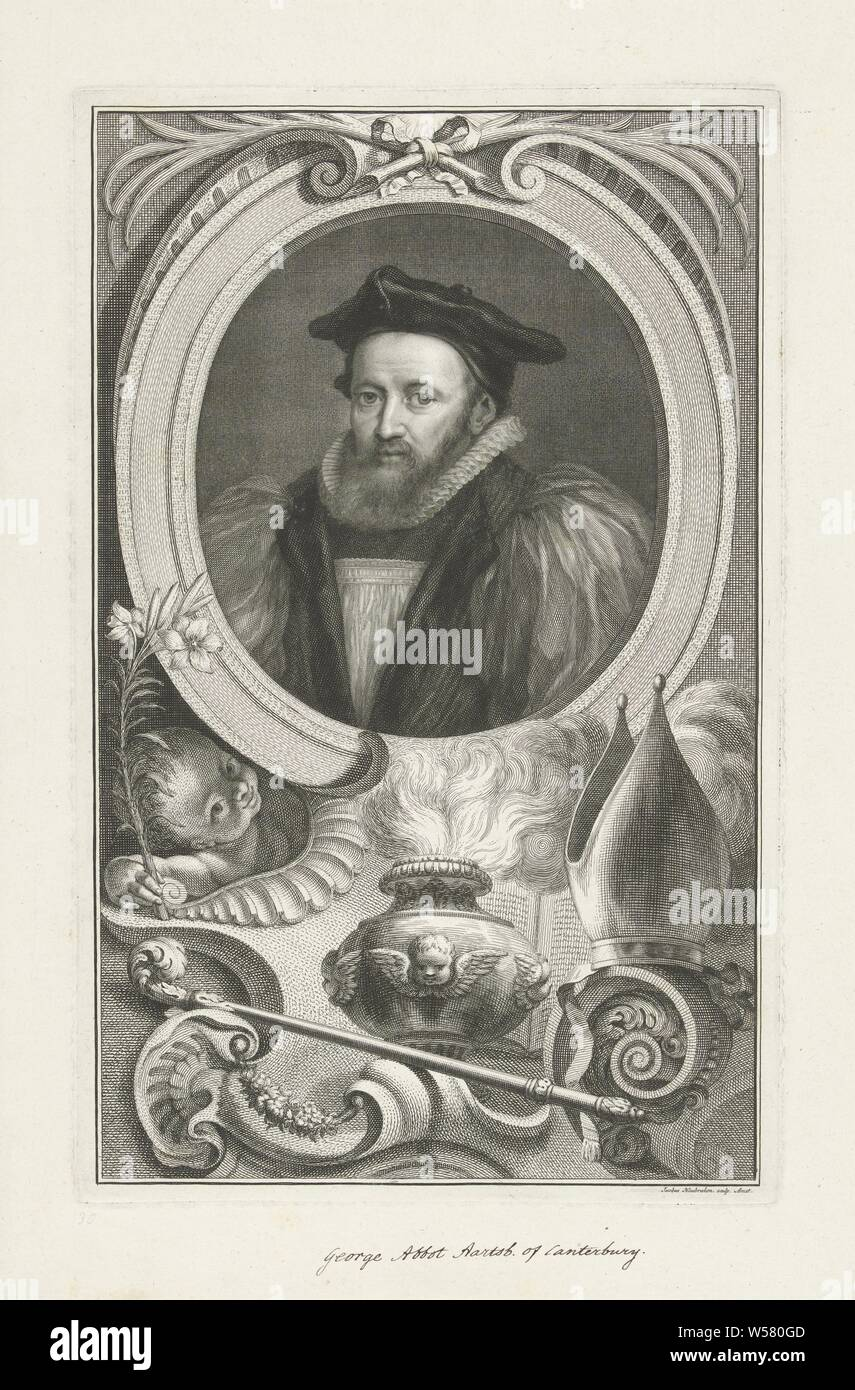 Portrait of George Abbot, Archbishop of Canterbury, with a putto beneath the portrait with a lily by an incense burner, a bishop's staff and a miter., Jacob Houbraken (mentioned on object), Amsterdam, 1741 - 1743, paper, pen, h 361 mm × w 228 mm Stock Photo