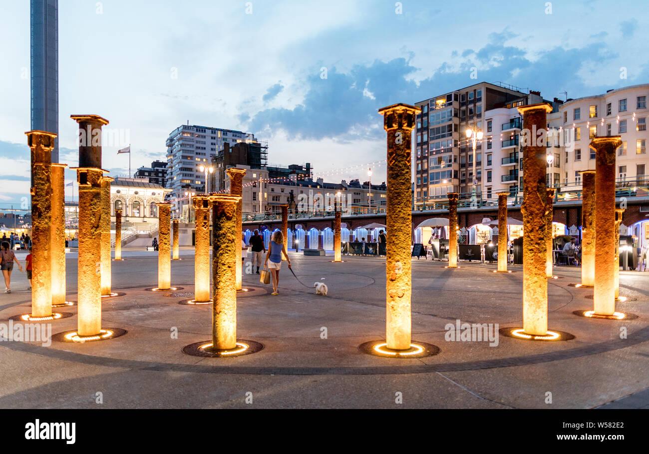 The West Pier Memorial At Night Brighton UK Stock Photo