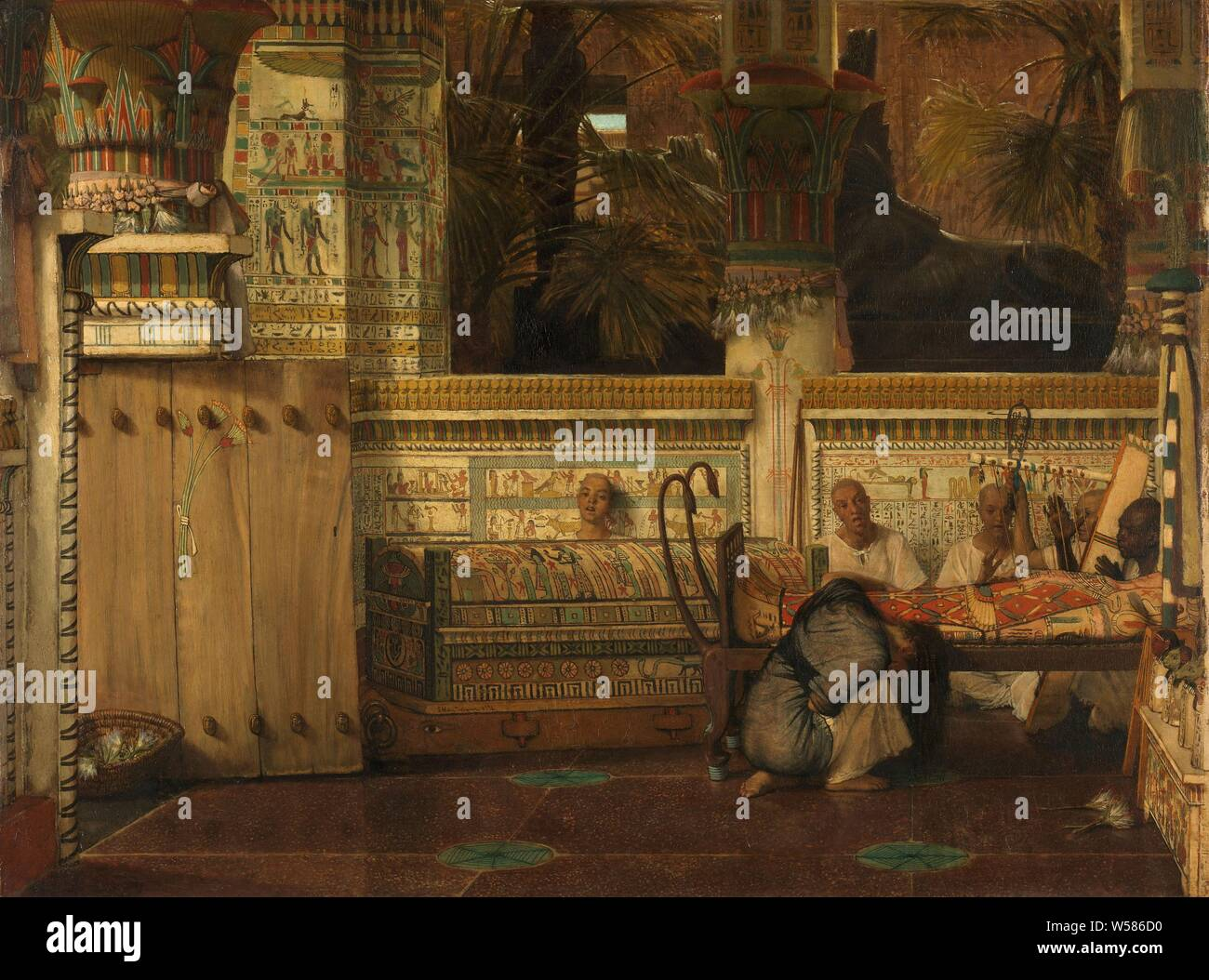 The Egyptian Widow, Interior of an Egyptian temple with a kneeling mourning widow. Priests sing and play harp by the body of the deceased, mourning the dead, widow, Lourens Alma Tadema, 1872, panel, oil paint (paint), h 74.9 cm × w 99.1 cm Stock Photo