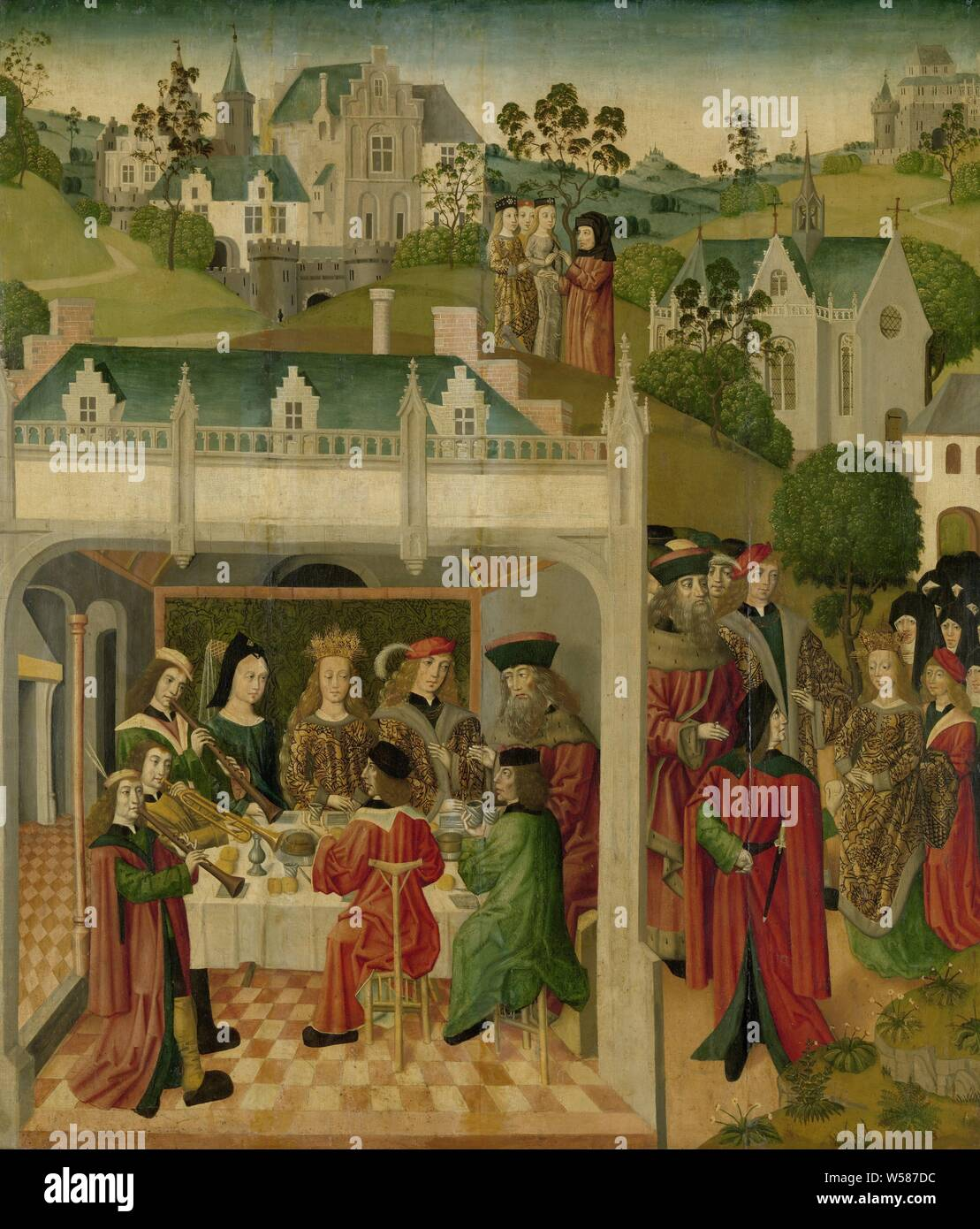 Wedding Feast of Saint Elizabeth of Hungary and Louis of Thuringia in the Wartburg, inner left wing of an altarpiece made for the Great Church in Dordrecht, Scenes from the life of Saint Elisabeth of Hungary. On the right in the foreground the engagement with Duke Lodewijk van Thüringen and Hessen in the garden. On the left the wedding supper on the Wartburg in which also King Andreas, the father of the bride, and the mother of the groom participated. Three musicians with flutes and a trumpet make music at the banquet. In the background a landscape with castles and the buildings of a city - Stock Photo