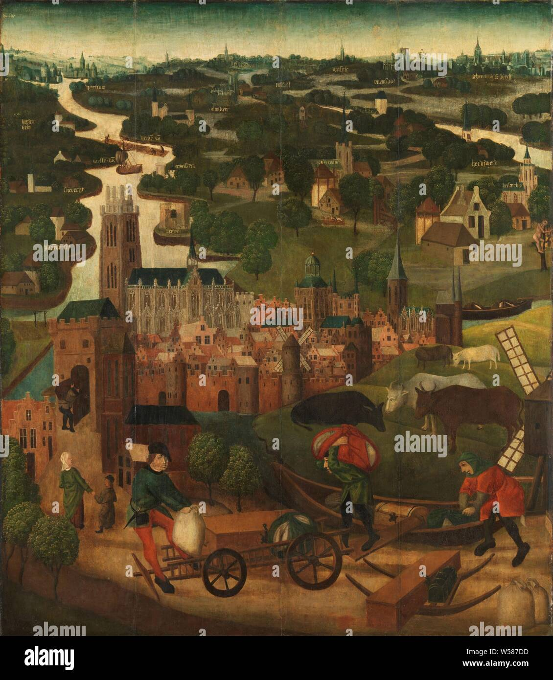 The Saint Elizabeth's Day Flood, Exterior left wing of an altarpiece with the Saint Elisabeth flood, November 18-19, 1421, with the city of Dordrecht in the background, The Saint Elisabeth flood, flood at 18 -19 November 1421. In the middle the city of Dordrecht with the Vuilpoort on the left. In the foreground, three men load goods from a boat onto a wagon. On the right cows in the meadow near a mill. In the background the land between Maas and Waal with different villages that are named. The outside of the left panel is part of two panels, painted on both sides with scenes from the life - Stock Photo