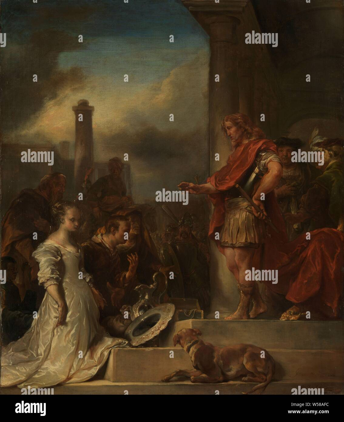 The continence of Scipio, The magnanimity of Scipio. The man and the woman kneel before the general Scipio who reunites the couple with a hand gesture. Precious crockery is on the stairs. On the right the advisers of Scipio, in the background soldiers and the buildings of the city., Jan van Noordt (1623-1676), 1672, canvas, oil paint (paint), h 103 cm × w 88 cm d 6.5 cm Stock Photo