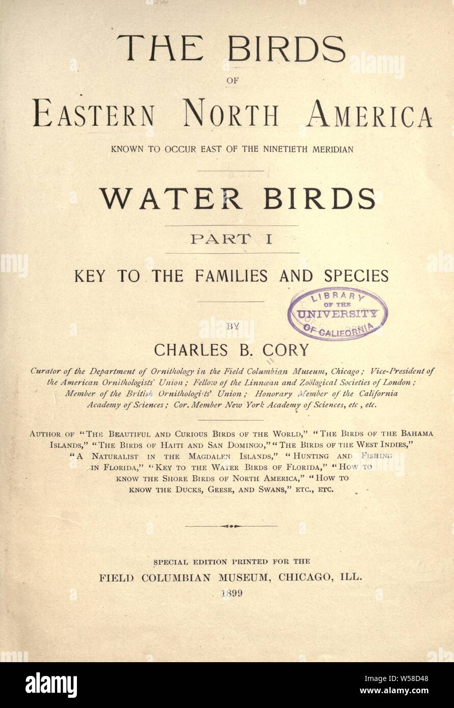 The birds of eastern North America known to occur east of the nineteenth meridian .. : Cory, Charles B. (Charles Barney), 1857-1921 Stock Photo