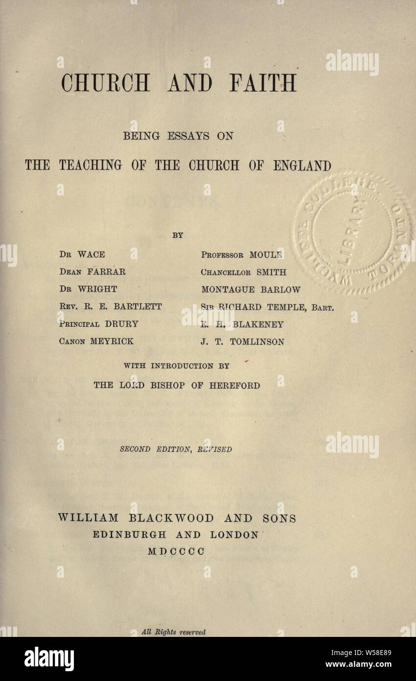Church and faith : being essays on the teaching of the Church of England : Wace, Henry, 1836-1924 Stock Photo