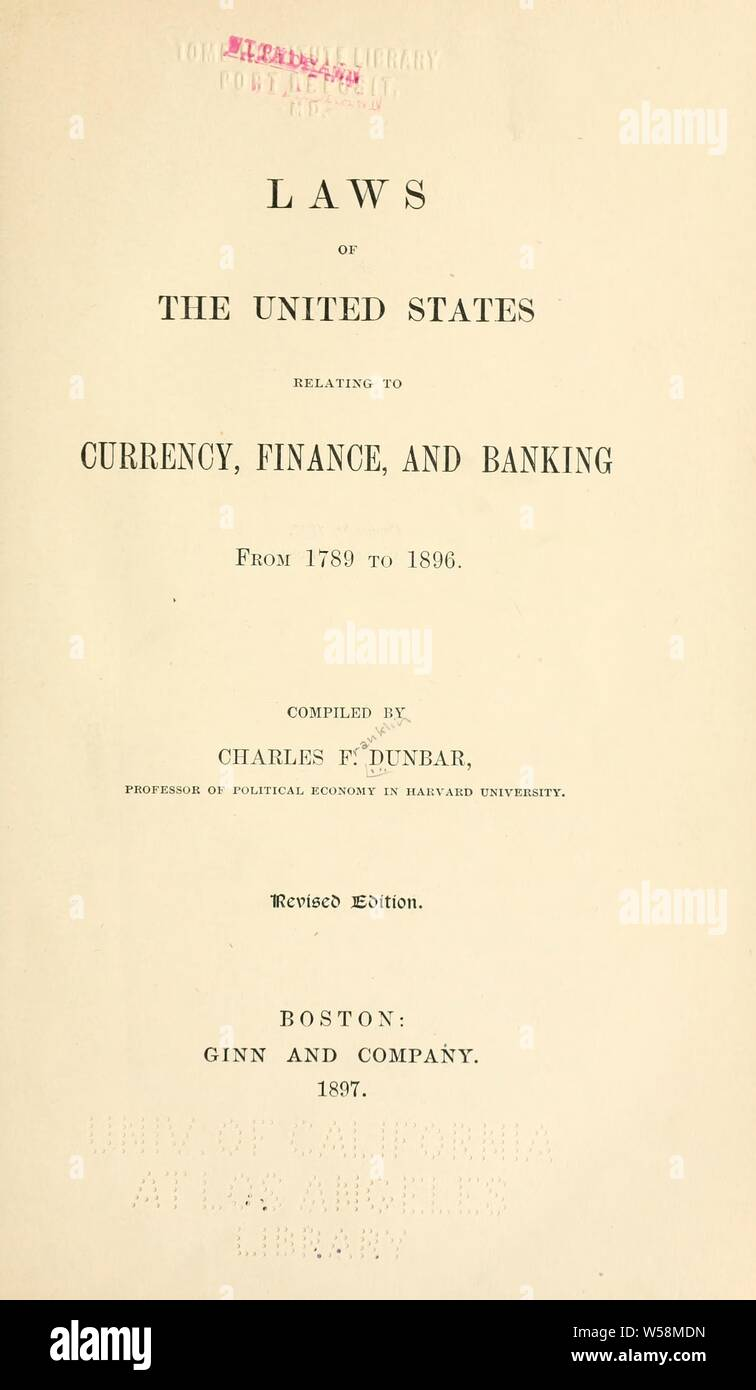 Laws of the United States relating to currency, finance, and
