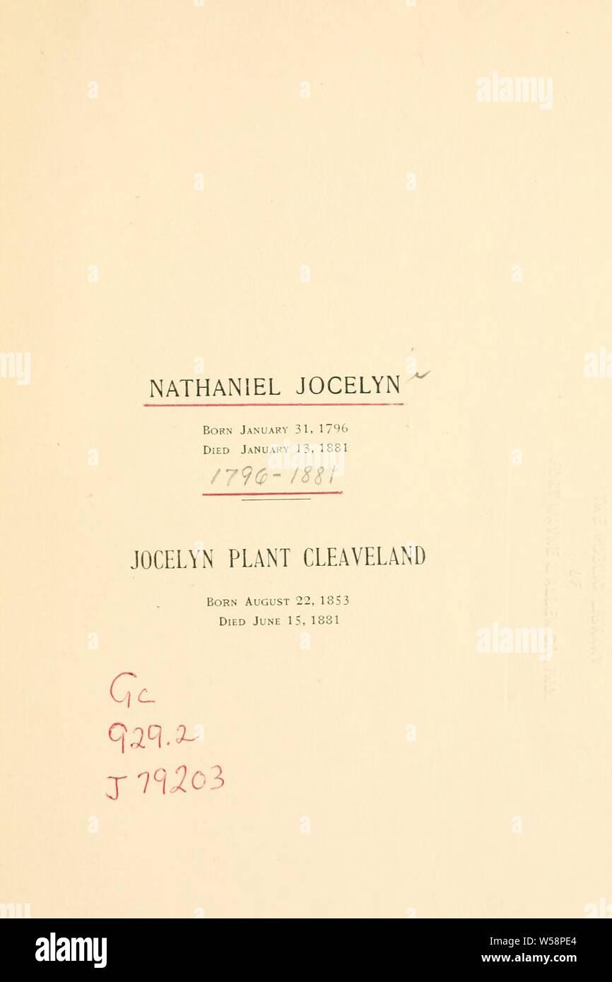 Nathaniel Jocelyn, born Jan. 31, 1796, died Jan. 13, 1881 ; Jocelyn Plant Cleaveland, born Aug. 22, 1853, died June 15, 1881 Stock Photo