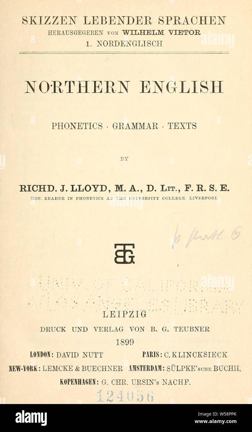 Northern English : phonetics, grammar, texts : Lloyd