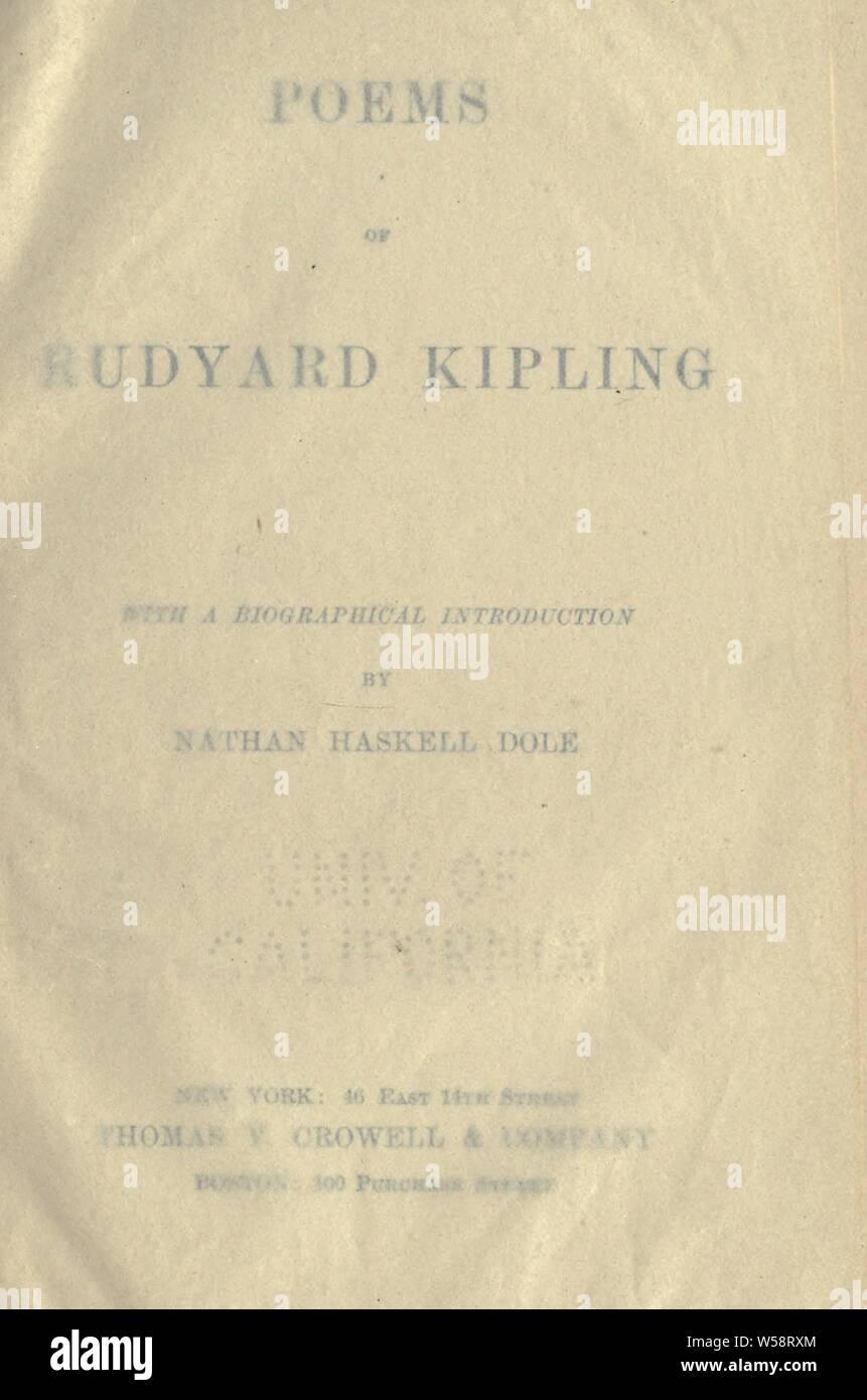 Poems Of Rudyard Kipling Kipling Rudyard 1865 1936 Stock