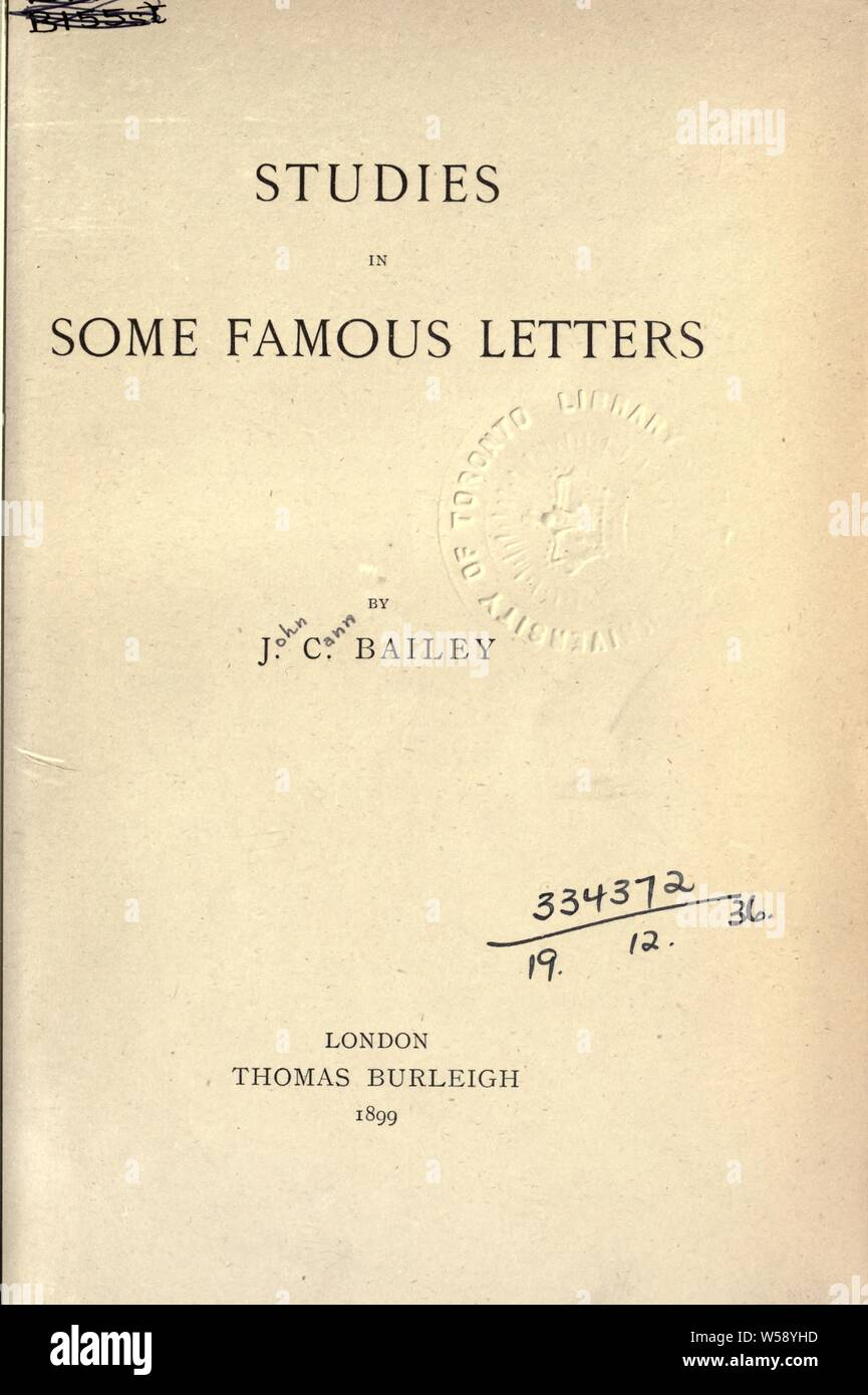 Studies In Some Famous Letters Bailey John Cann 1864 1931