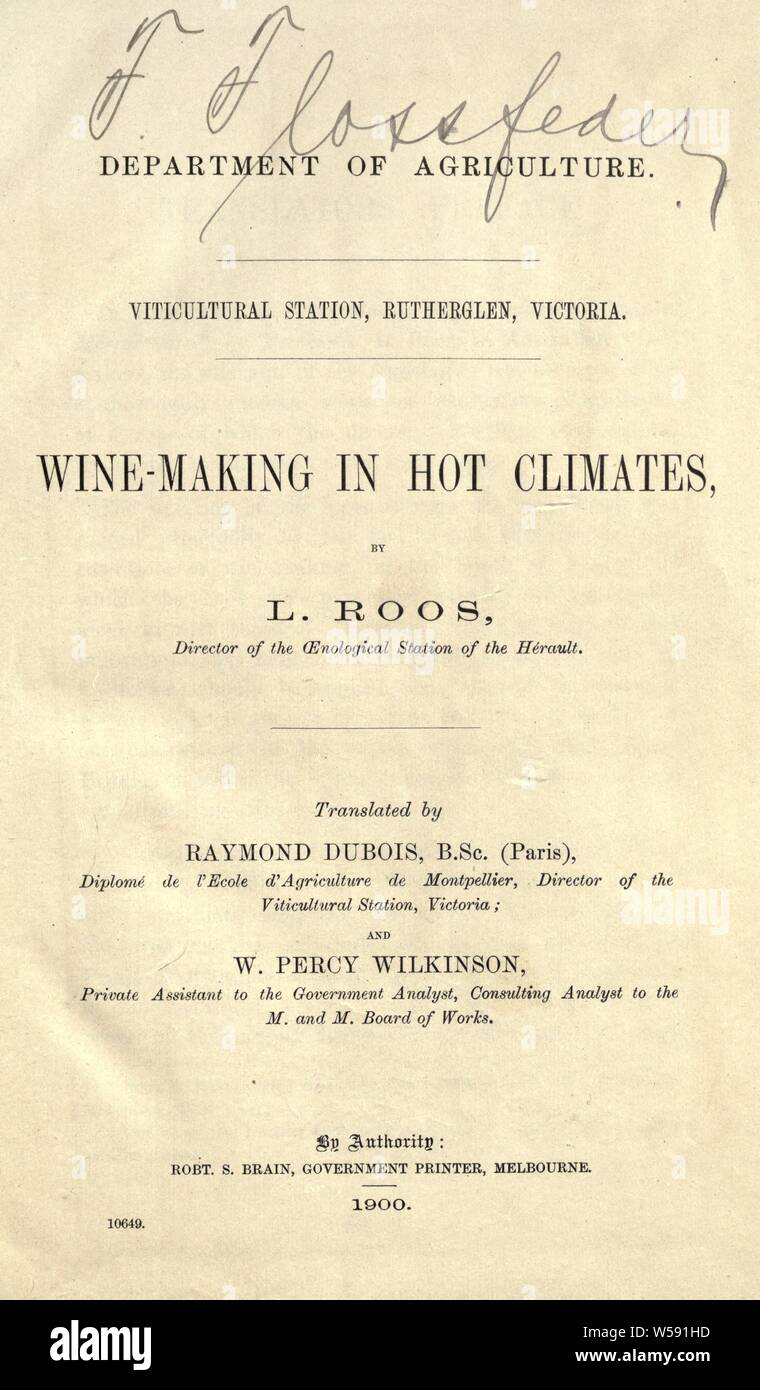 Wine-making in hot climates : Roos, L Stock Photo