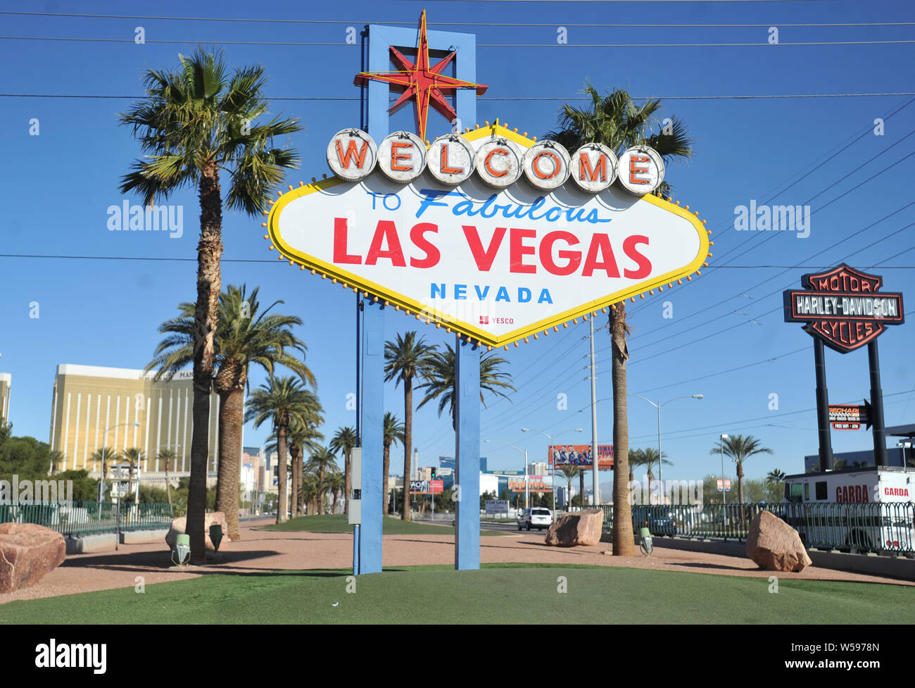 The famous Welcome to Las Vegas sign on the entrance to the city on Las Vegas Boulevard, Nevada Stock Photo