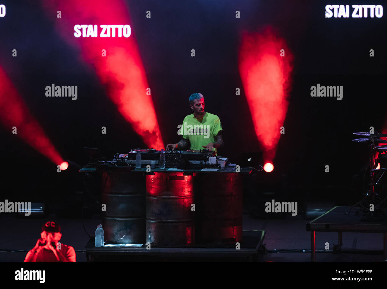 """Naples, Italy. 26th July, 2019. The italian DJ Slait seen at the concert of singer and songwriter Maurizio Pisciottu known as Salmo during the """"Playlist Summer Tour"""" at Noisy Fest in Naples. Credit: SOPA Images Limited/Alamy Live News Stock Photo"""