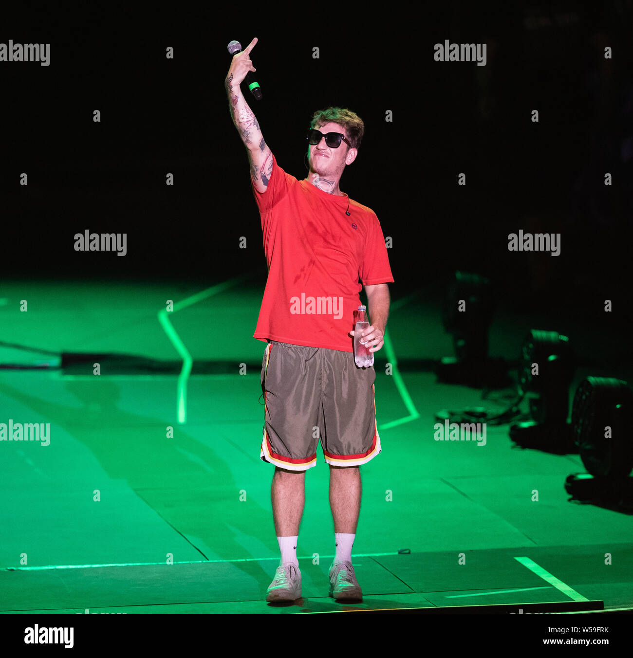 "Naples, Italy. 26th July, 2019. The italian rapper Dani Faiv opens the concert of singer and songwriter Maurizio Pisciottu known as Salmo during the ""Playlist Summer Tour"" at Noisy Fest in Naples. Credit: SOPA Images Limited/Alamy Live News Stock Photo"