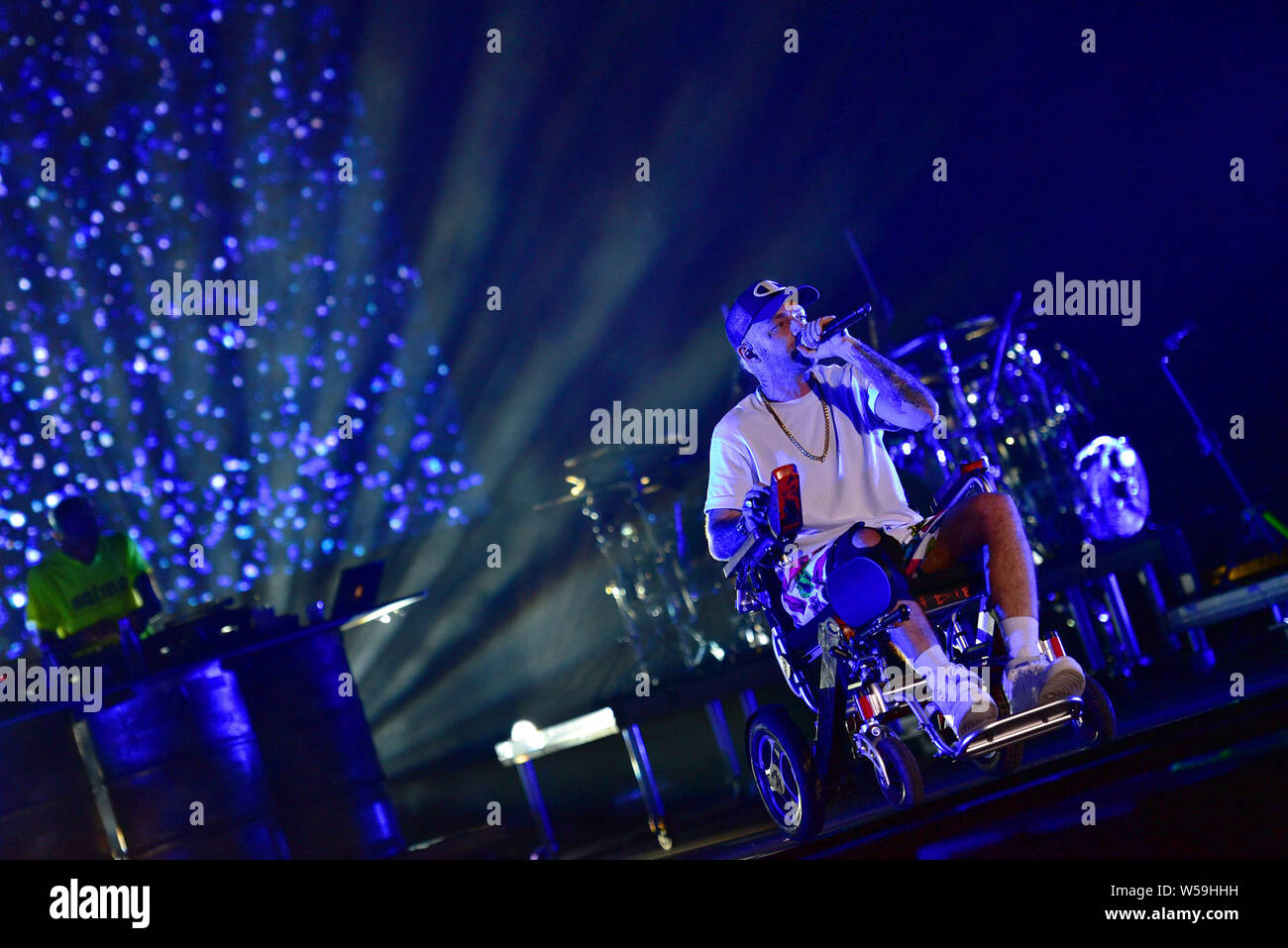 """Napoli, Italy. 26th July, 2019. The Italian rapper Maurizio Pisciottu aka Salmo performing live on stage for his """"Playlist"""" summer tour concert in Napoli at the Arena Flegrea. Credit: Paola Visone/Pacific Press/Alamy Live News Stock Photo"""