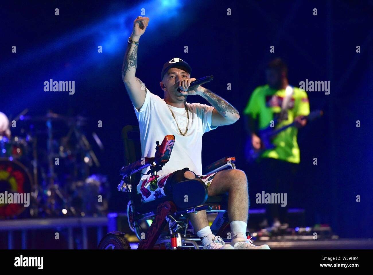 "Napoli, Italy. 26th July, 2019. The Italian rapper Maurizio Pisciottu aka Salmo performing live on stage for his ""Playlist"" summer tour concert in Napoli at the Arena Flegrea. Credit: Paola Visone/Pacific Press/Alamy Live News Stock Photo"