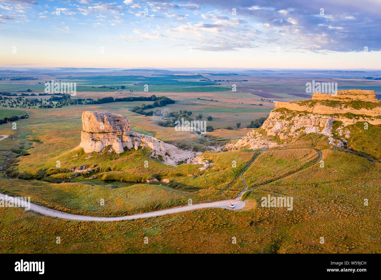 Courthouse and Jail Rocks in Nebraska Panhandle - aerial view ar summer sunrise Stock Photo