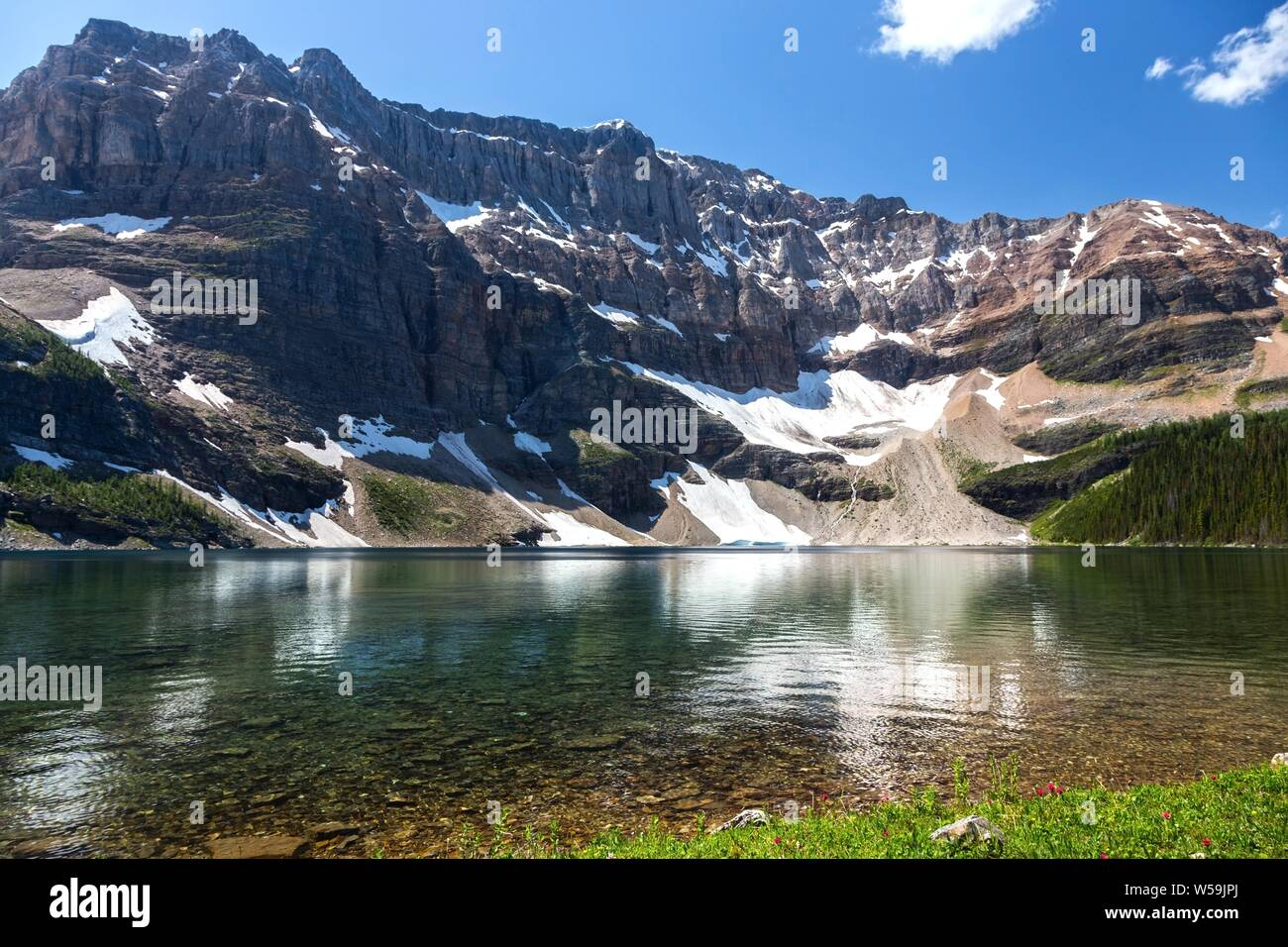 Calm Water of Beautiful Scarab Lake and Rugged Mountain Peaks in the Background. Banff National Park Summertime Canadian Rockies Stock Photo