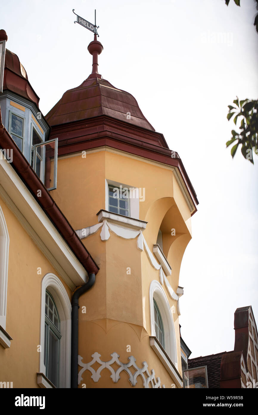 A cupola on a historic yellow house in Bamberg, Germany. Stock Photo