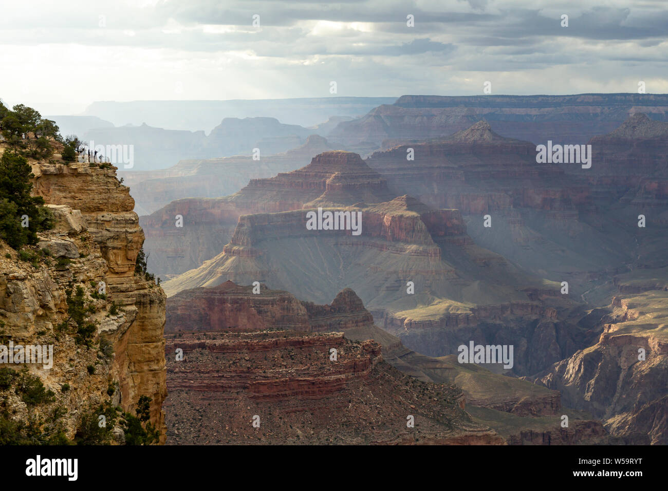 Scenic lookout at the south rim at Grand Canyon, Arizona, United States Stock Photo